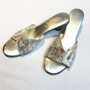 Silver Mule Heels With Rainbow Foil Paisley Print